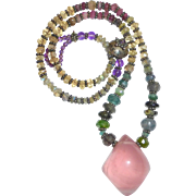 Rose Quartz & Faceted Gemstone Bead Necklace Sterling Accents