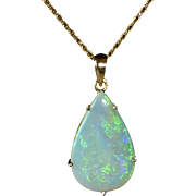 14k Large Opal Teardrop Pendant