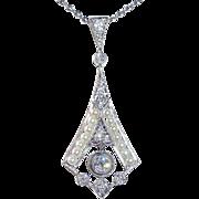 Antique Edwardian Platinum Diamond & Pearl Lavaliere Necklace
