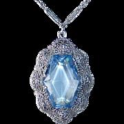Art Deco Rhodium Finish Filigree Blue Jewel Necklace