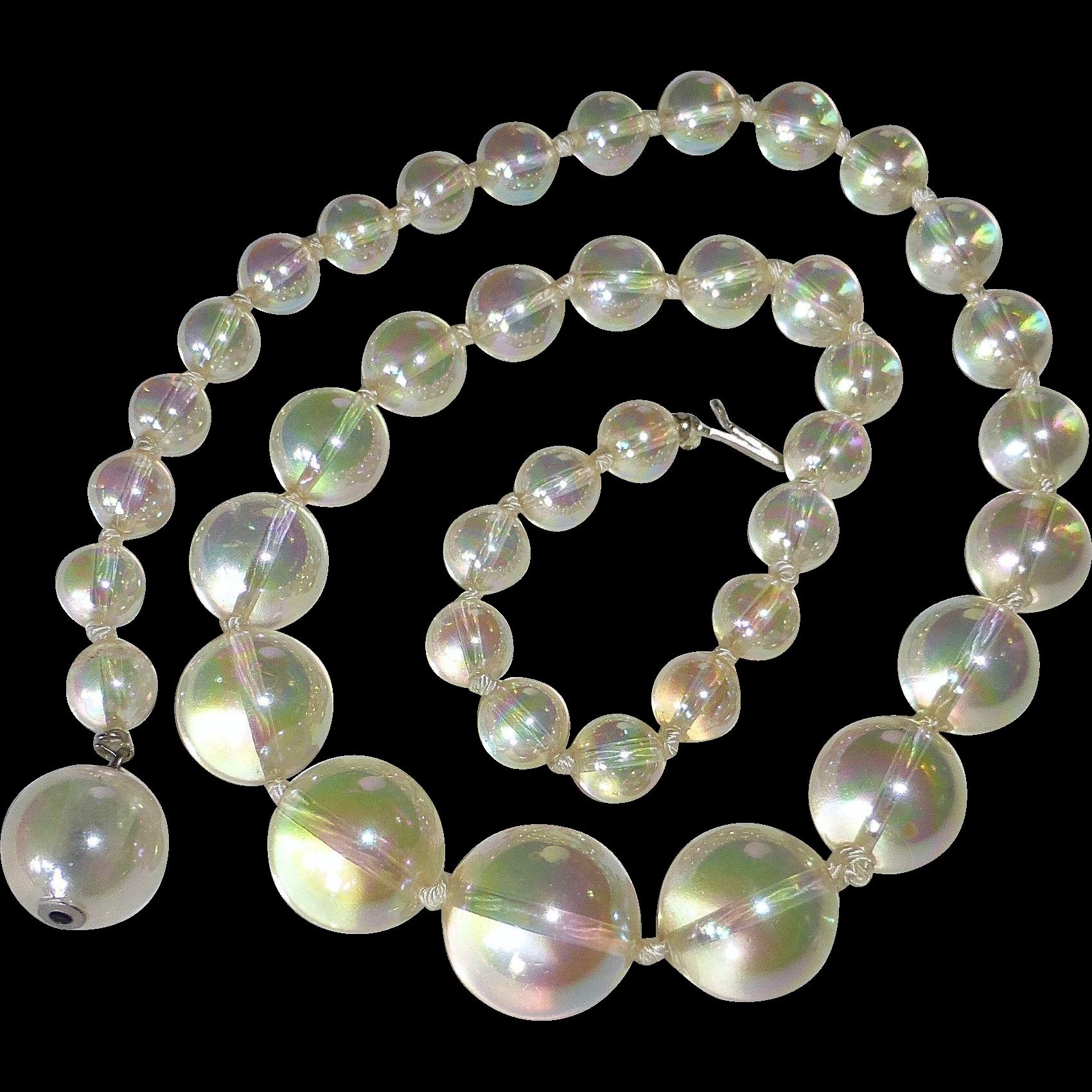 Iridescent Soap Bubbles Graduated Bead Necklace