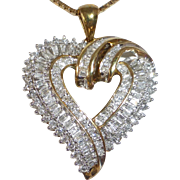 Sculptural Sterling Stylized Diamond Heart Pendant Necklace