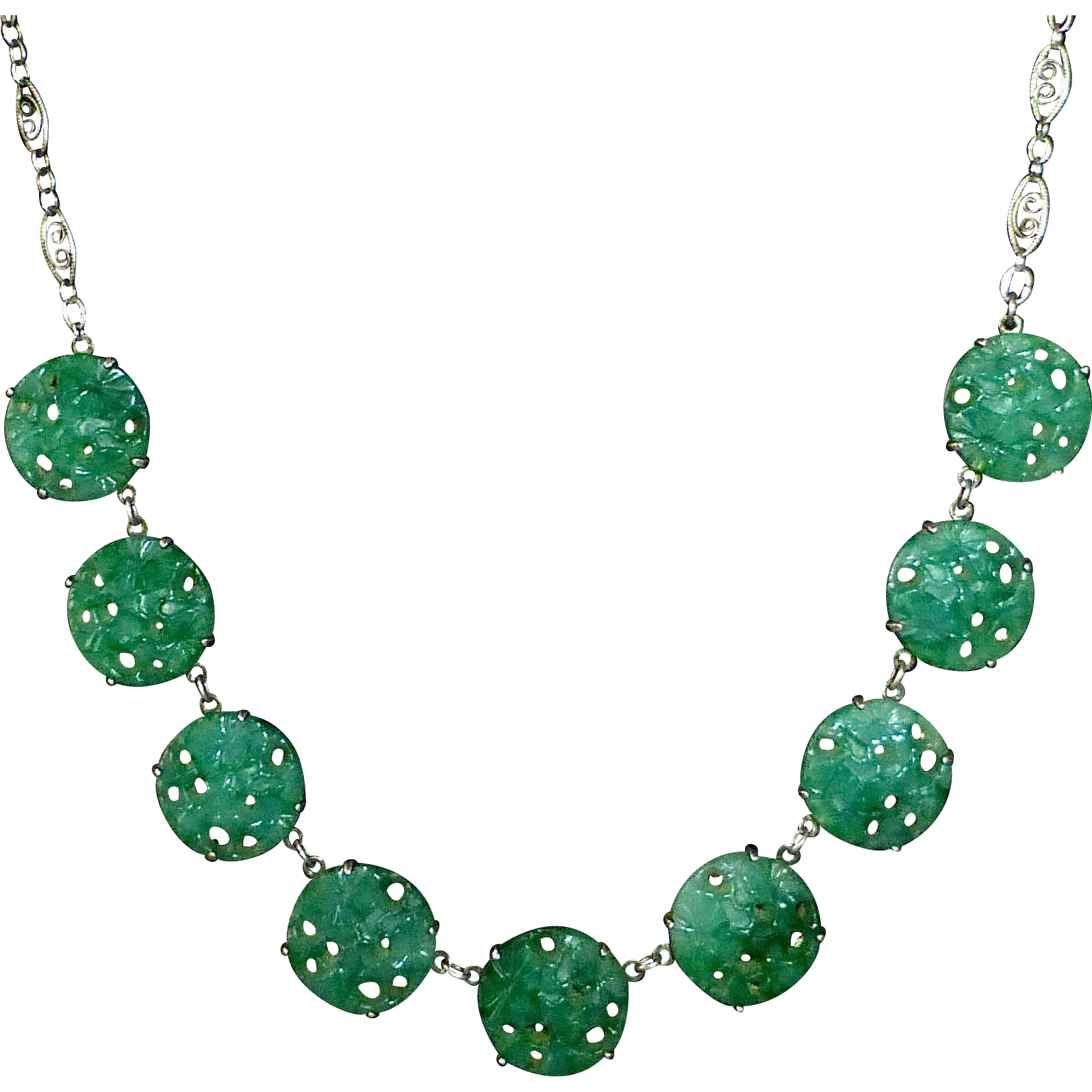 Art Deco Sterling & Peking Glass Disk Necklace
