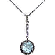 Art Deco Sterling & Saphiret Glass Lavalier Necklace