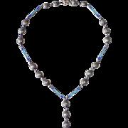 Mexican Sterling Concho & Enamel Links Y Drop Necklace