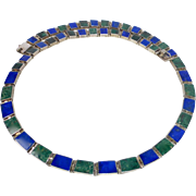 Mexican Sterling Necklace Inlaid Lapis & Serpentine