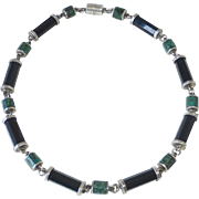 Mexican 950 Sterling Onyx & Turquoise Signed Necklace