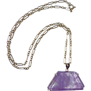 Sterling & Amethyst Asymmetrical Pendant Necklace