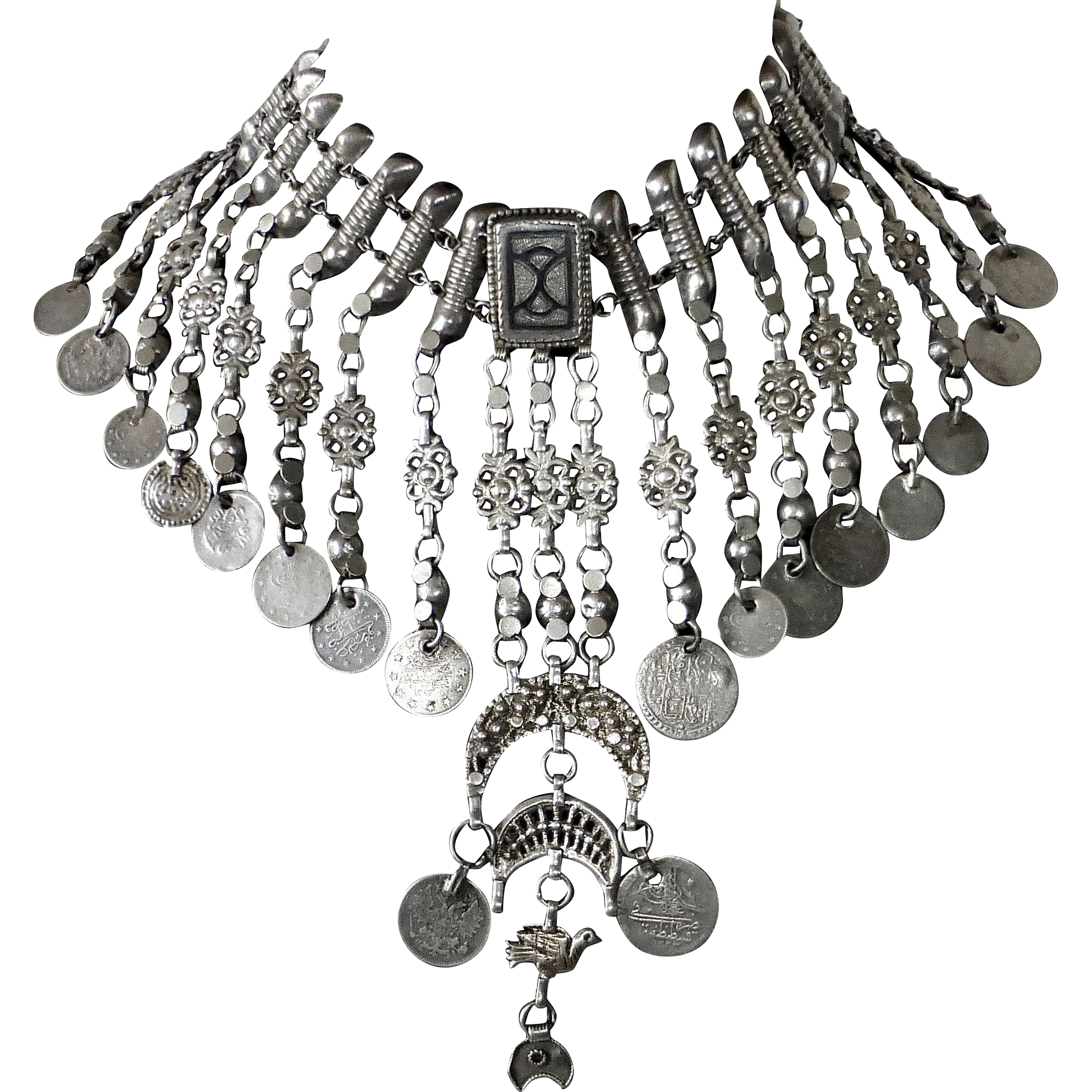 Ethnic Sterling & 800s Exotic Belly Dance Necklace w Coins