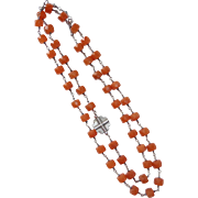Sterling & Faceted Carnelian Bead Necklace