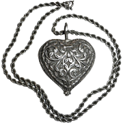 Sterling Double Sided Carved Heart Pendant & Chain Necklace
