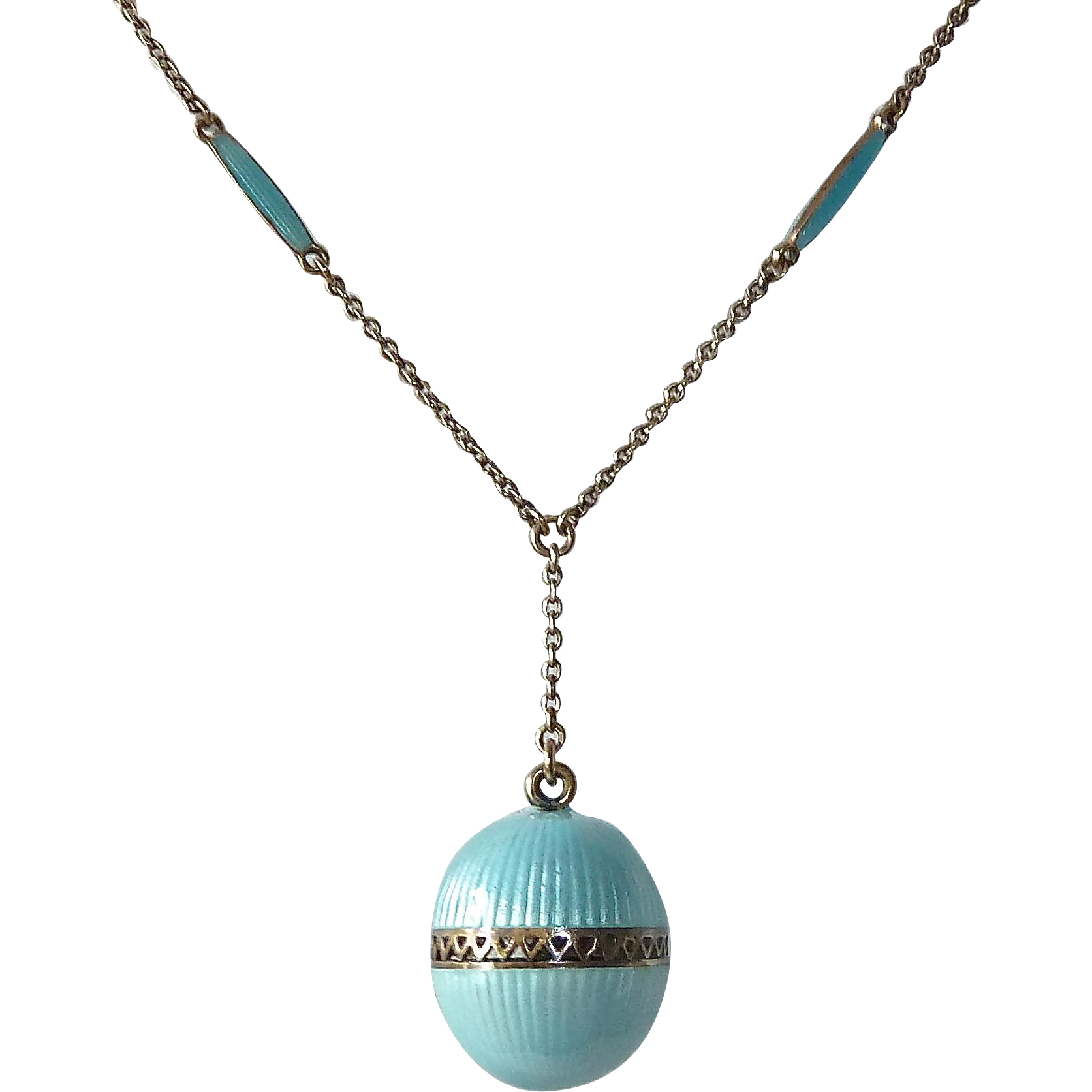 Antique Sterling & Enamel Perfume Vinaigrette Pendant w Original Chain