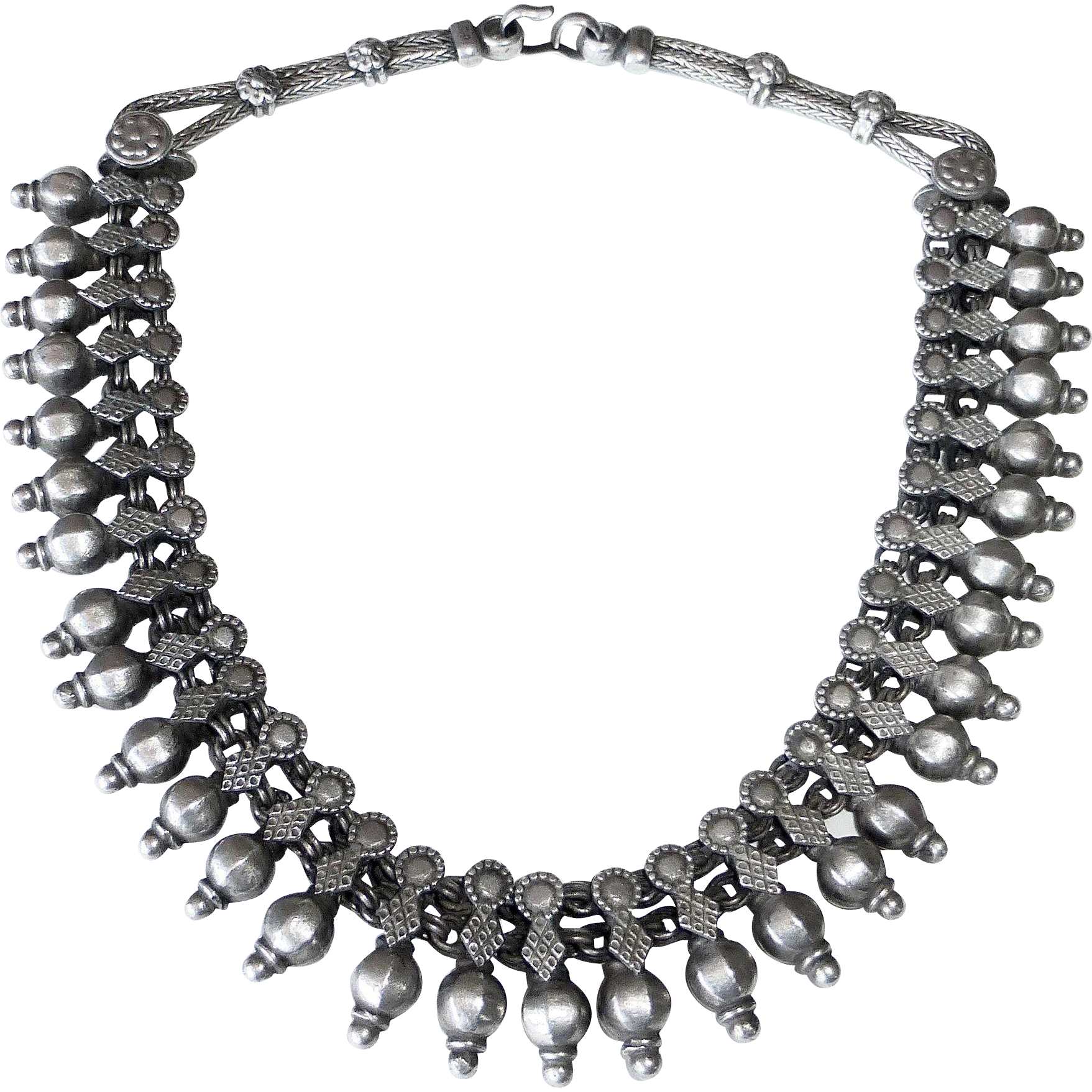 Ethnic Indian Rajasthani Sterling Ornate Collar Necklace