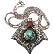 Tibetan Sterling Turquoise & Coral Repousse Double Fish Pendant