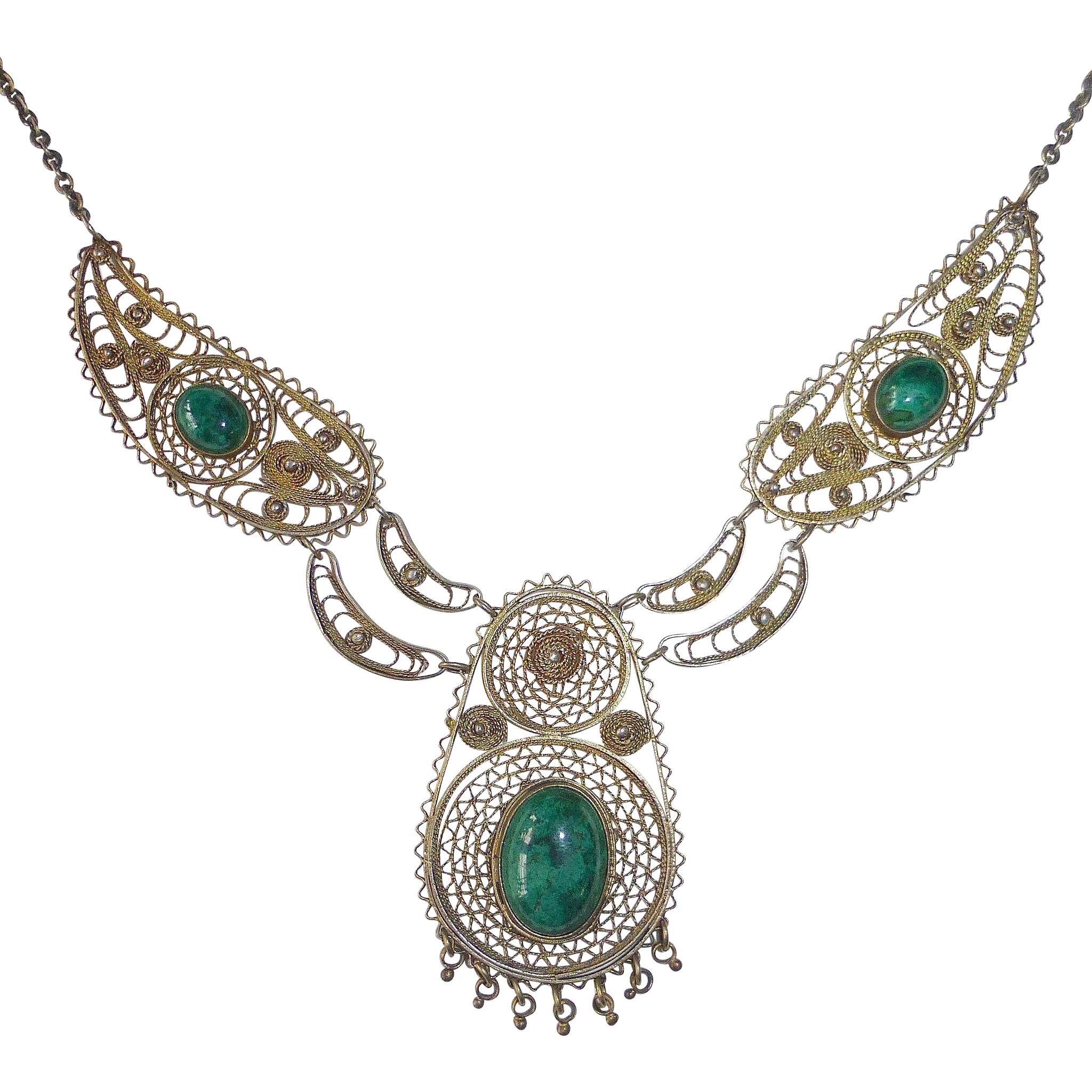 Israeli Ethnic Gilt Sterling Filigree Necklace Eilat Stones