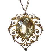 Sterling Filigree Gold Washed Citrine Pendant Necklace