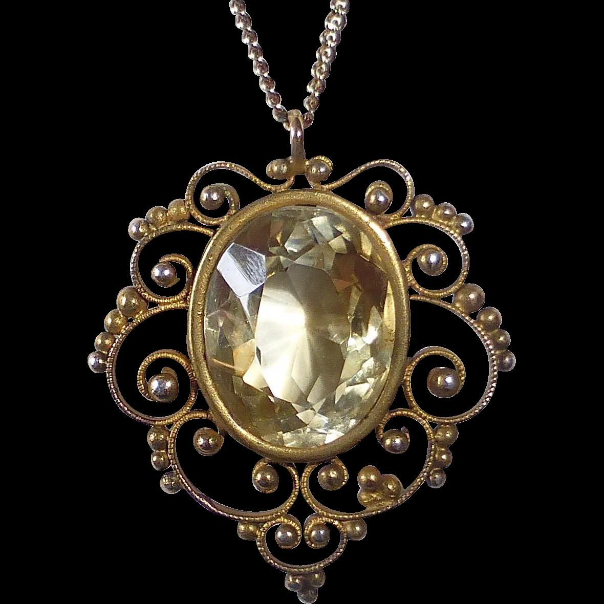 Sterling Filigree Gold Washed Citrine Pendant Necklace
