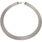 Wide Woven Sterling Flat Chain Collar Necklace