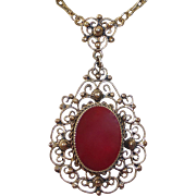Danecraft Sterling Filigree Carnelian Necklace w Gold Wash