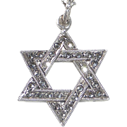 Sterling & Marcasite Star of David Pendant Necklace