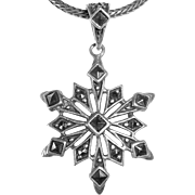Sterling & Marcasite Snowflake Pendant Necklace
