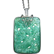 Art Deco Sterling Peking Glass & Cultured Pearl Pendant Necklace