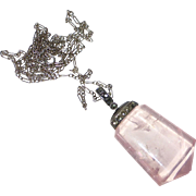 Art Deco Sterling & Rose Quartz Pendant Marcasite Cap 14k White Gold Chain