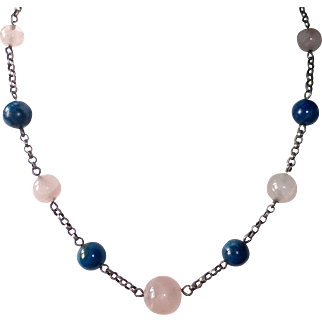 Sterling Necklace with Rose Quartz & Sodalite Beads