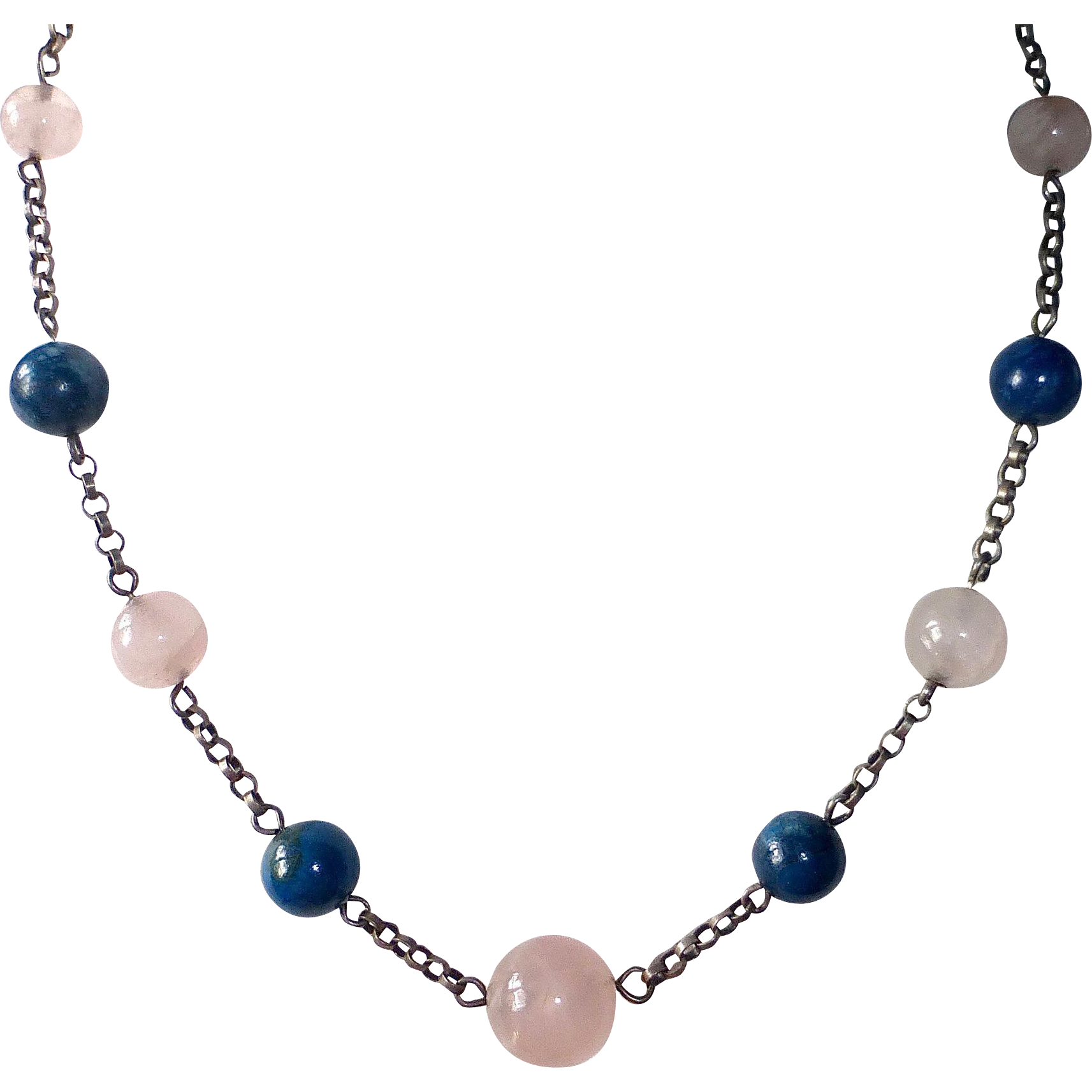 Art Deco Sterling Necklace with Rose Quartz & Sodalite Beads