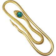 Gold Filled Decorative Snake Paper Clip Green Jewel