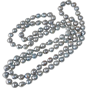 SIlver Gray Long Strand Cultured Baroque Pearl Necklace