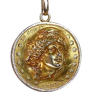 Lady Liberty 14k Punch Coin Design Dimensional Pendant