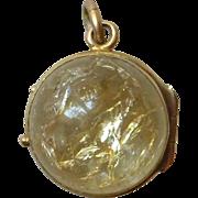 Antique 10k Citrine Ball Pendant Charm Locket ~Opens