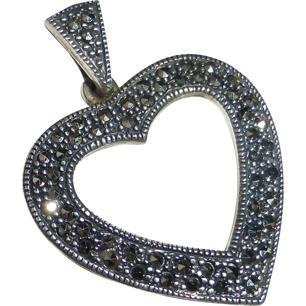 Sterling Silver Stylized Marcasite Heart Pendant