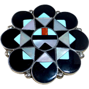 Native American Zuni Sterling Inlaid Gemstone Pendant/Pin Combination