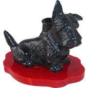 Black Metal Scotty Dog Pen Holder on Red Bakelite Base