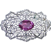 Art Deco 10k Lacy Filigree Pink Jewel Pin