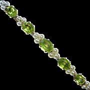 14k Edwardian Peridot & Pearl Bar Pin