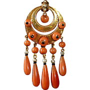 14k Victorian Pin 5 Coral Teardrops, Beads & Seed Pearls