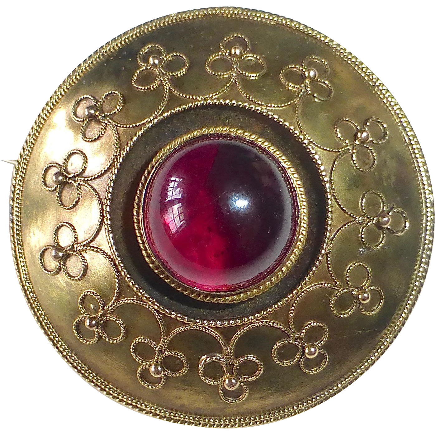 14k Victorian Etruscan Style Mourning Brooch Garnet dated 1864
