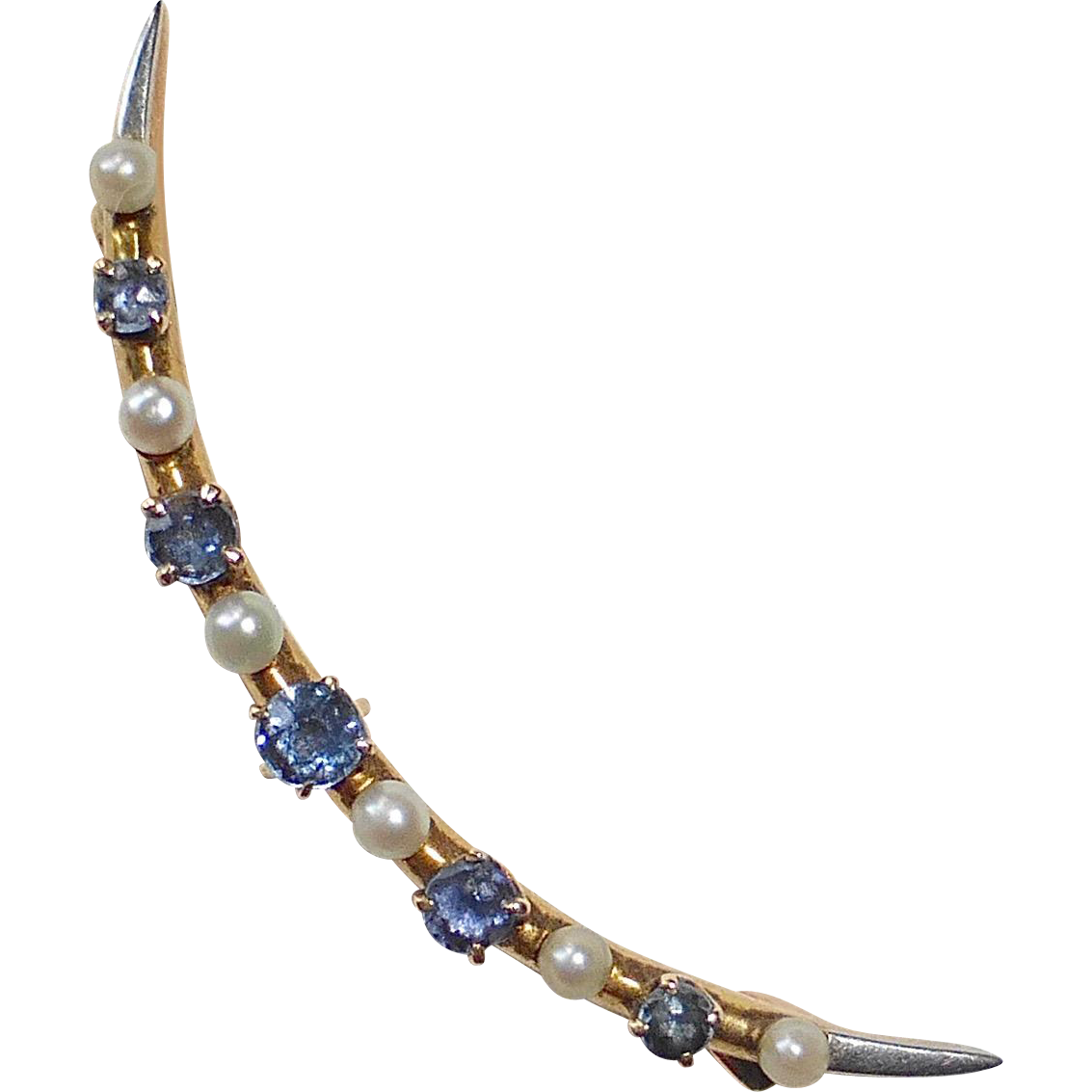 Edwardian 14k Crescent Moon Pin Sapphires & Seed Pearls