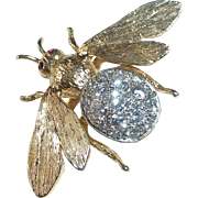 14k Yellow & White Gold Diamond Bee Pin