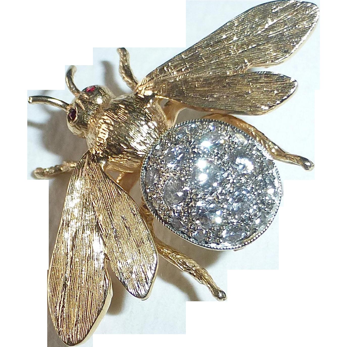 14k Yellow & White Gold Diamond Bee Pin