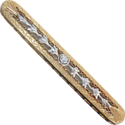 14k Edwardian Engraved & Repousse Diamond Bar Pin