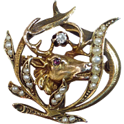 14k Antique Elks Head Pin w Ruby Diamond Seed Pearls
