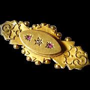 15k Antique Victorian Pin w Garnets & Diamond - Hair Compartment