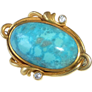 18k Turquoise & Diamond Art Nouveau Pin