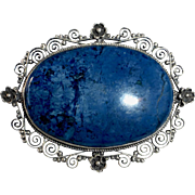 Antique Italian 800 Silver Filigree & Sodalite Pin