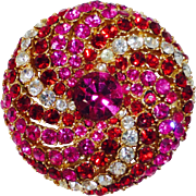 Art Co. Bling Domed Vibrant Colored Rhinestone Swirl Pin