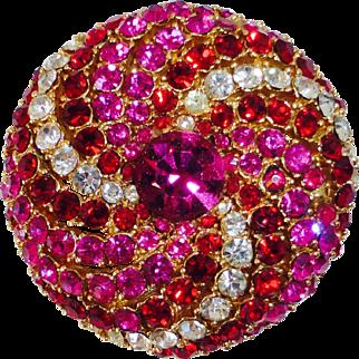 Art Co. Bling Domed Vibrant Colored Rhinestone Swirl Pin